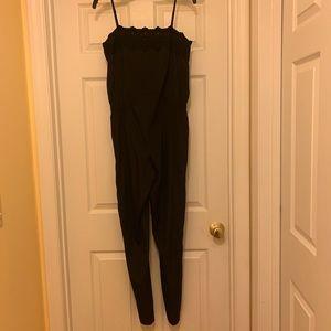 Ann Taylor black jumpsuit with lace trim neckline